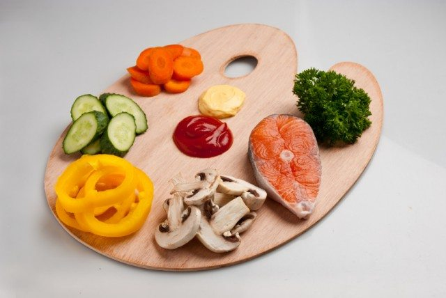 Healthy foods on a painter's palette
