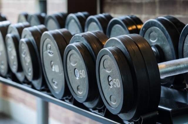 Weights at a gym laid out in rows.