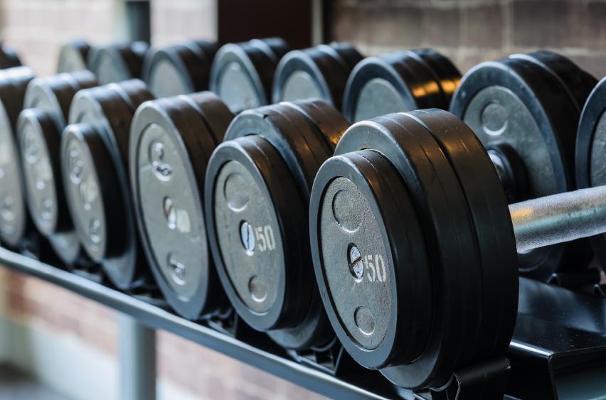 Dumbbells in a gym
