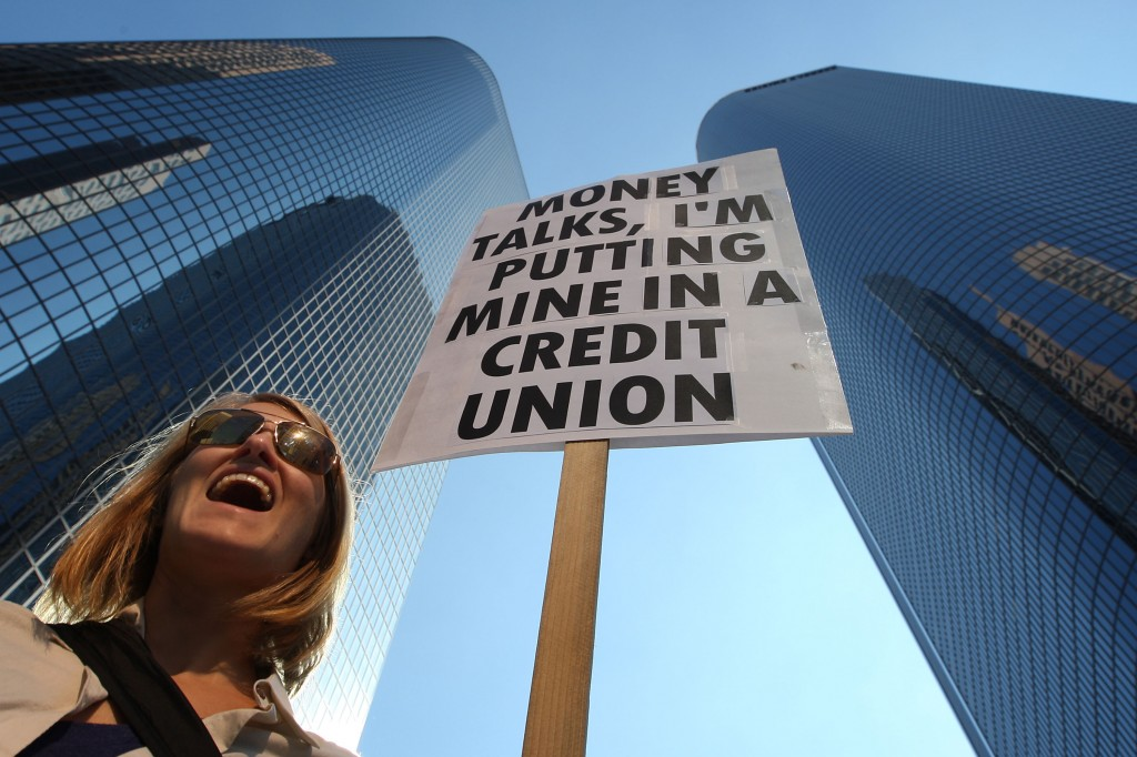 A protester supports credit unions
