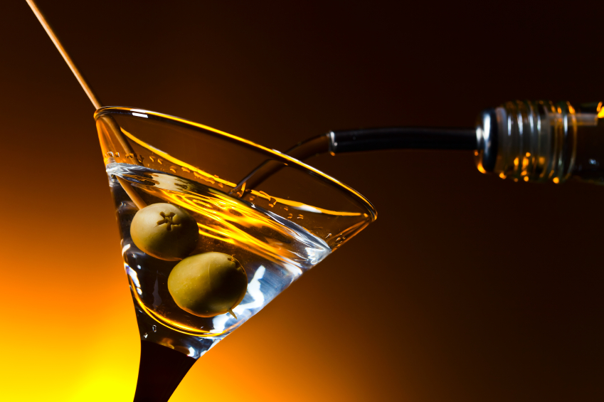 dry martini with olives