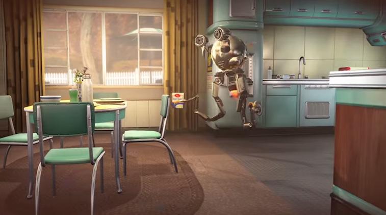 A retro-futuristic kitchen from Fallout 4 mods