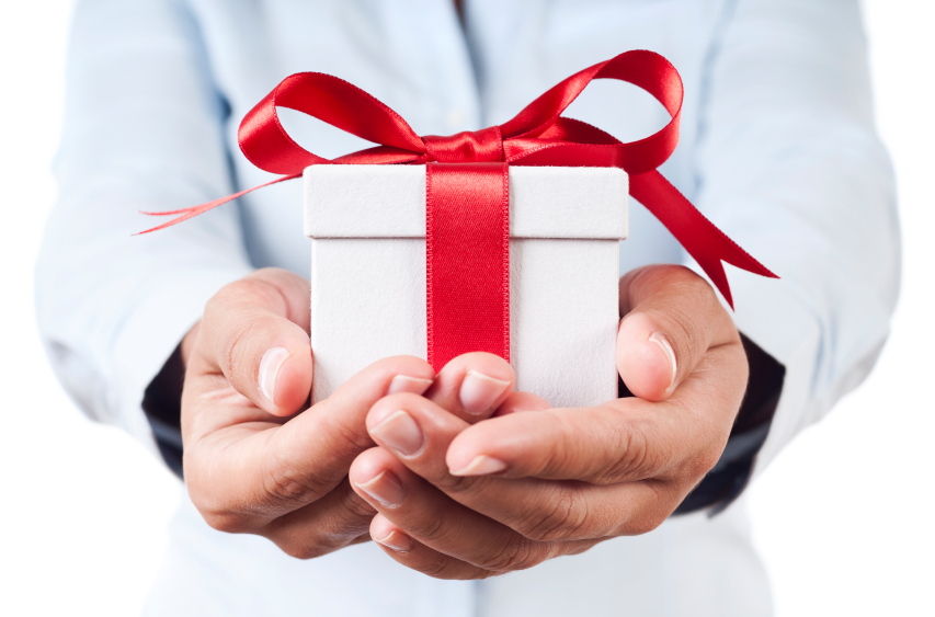man giving a gift