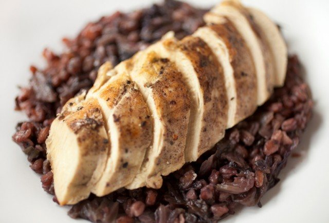 chicken, farro risotto