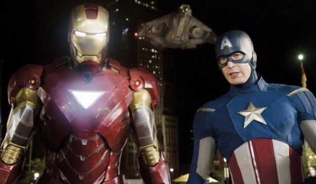 Iron Man stands next to Captain America