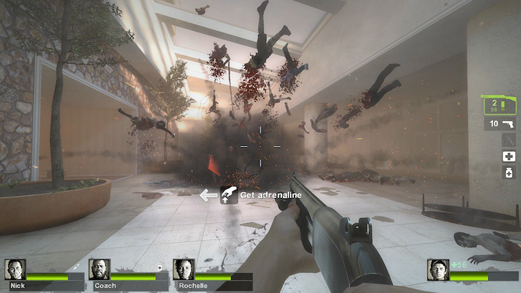 Left 4 Dead 2 blowing up zombies.