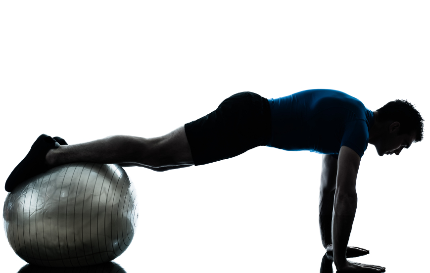 Man doing exercises on a stability ball