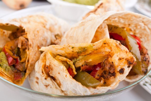 chicken and beef fajitas, burritos