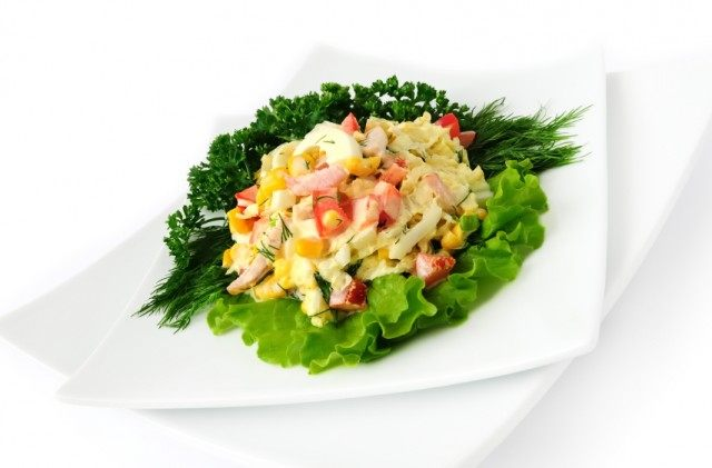 salad with corn and Chinese cabbage