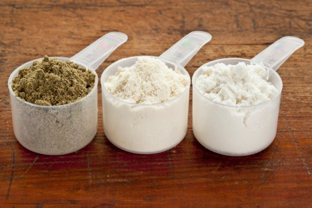 three different proteins in scoop containers