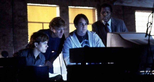 River Phoenix, Robert Redford, Dan Aykroyd and Sydney Poitier in 'Sneakers.'