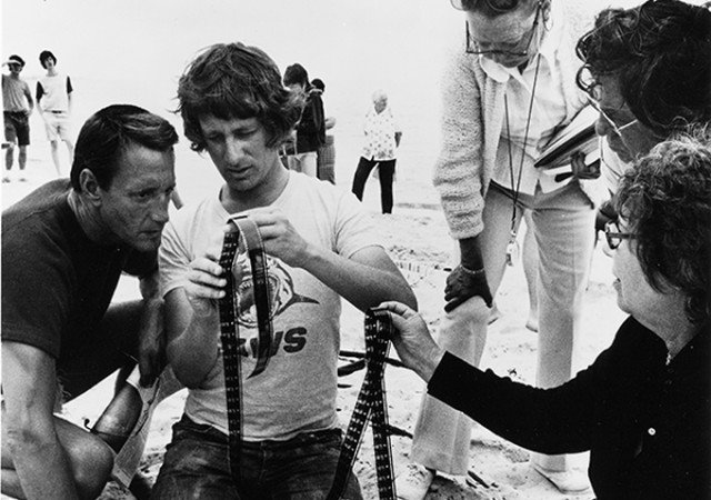 Steven Spielberg on the 'Jaws' set.