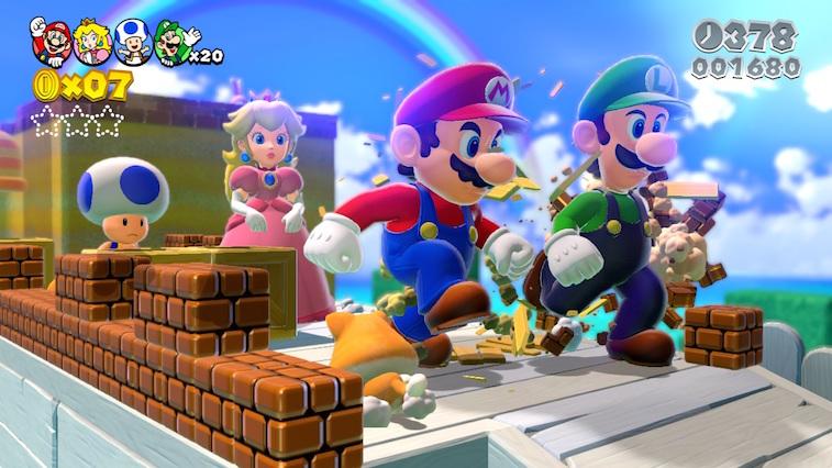 Mario, Luigi, Princess Peach, and Toad in Super Mario 3D World.