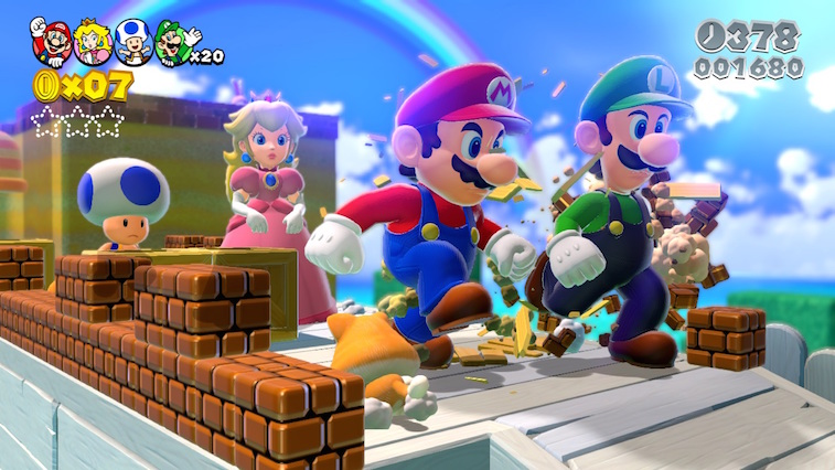 Mario, Luigi, Princess Peach, and Toad in Super Mario 3D World.