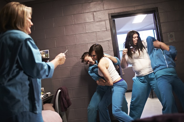 The cast of Wentworth Prison get into a fight in a prison cell