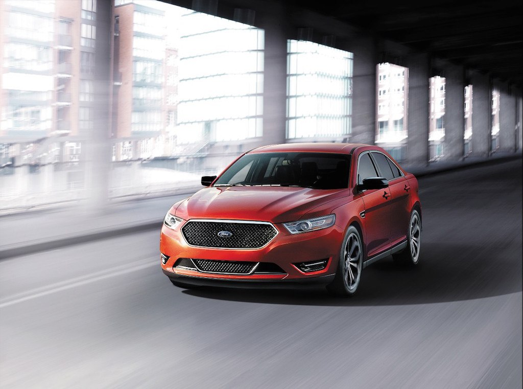 A red 2017 Ford Taurus SHO
