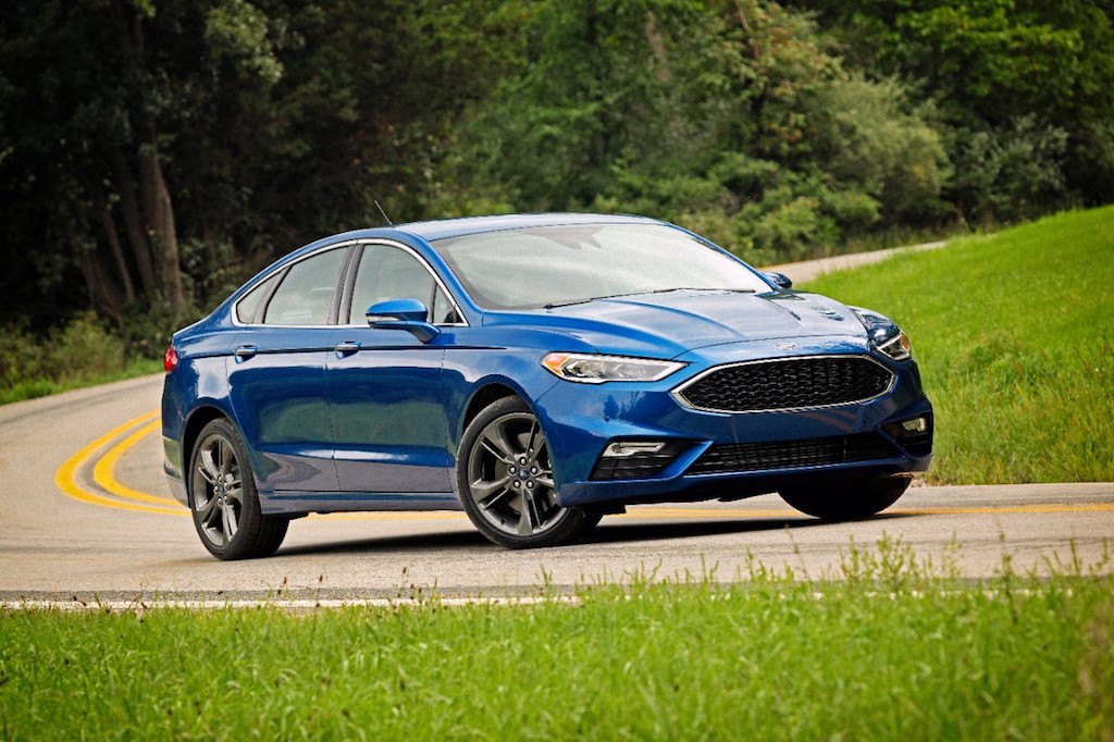 View of blue Ford Fusion Sport sedan