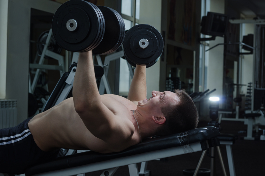 incline bench press, dumbbells