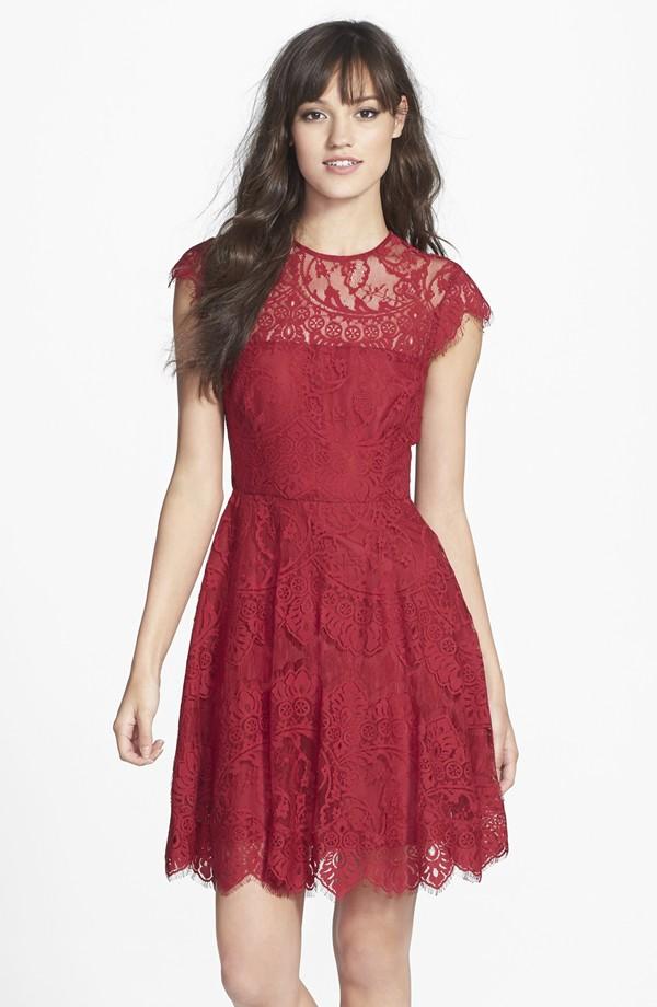BB Dakota illusion yoke lace fit and flare dress at Nordstrom