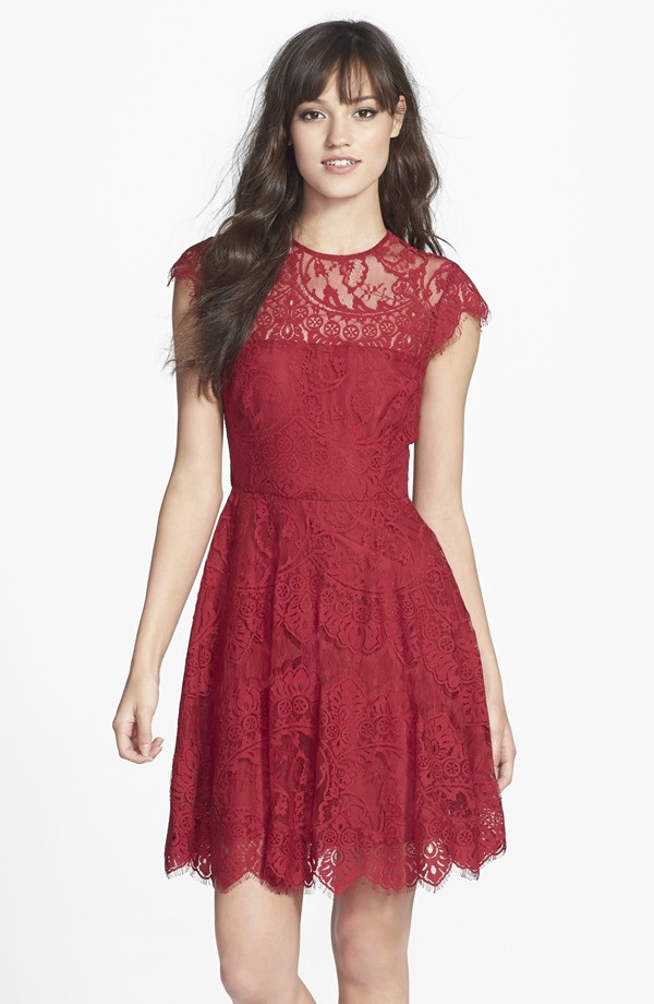 BB Dakota illusion yoke lace fit and flare dress at Nordstrom