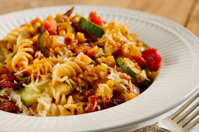 pasta, bacon, vegetables