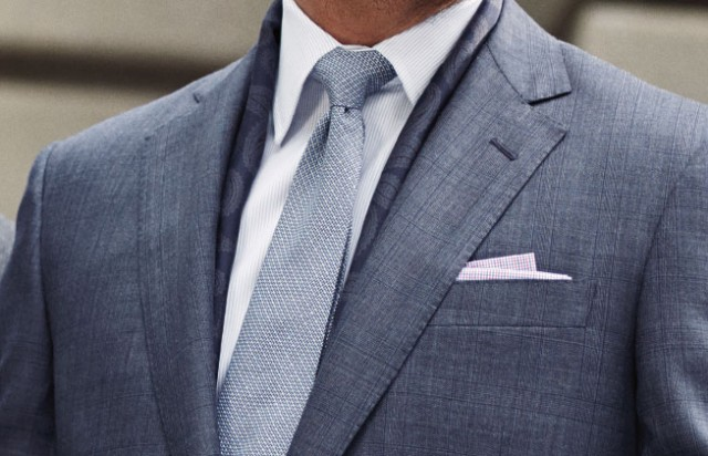 Brooks Brothers suit, tie, and pocket square