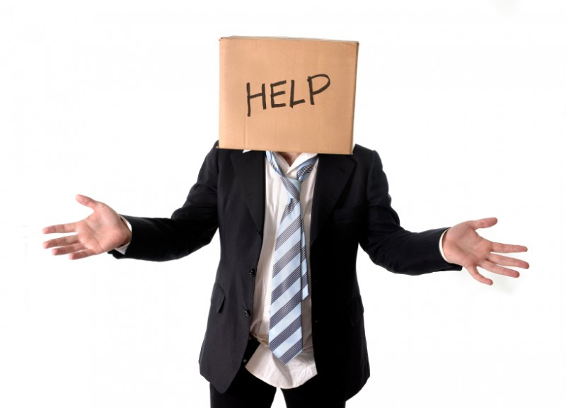 businessman asking for help