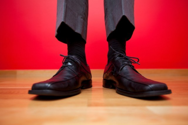 man wearing nice dress shoes