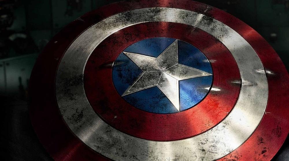 A close up of Captain America's flag shield