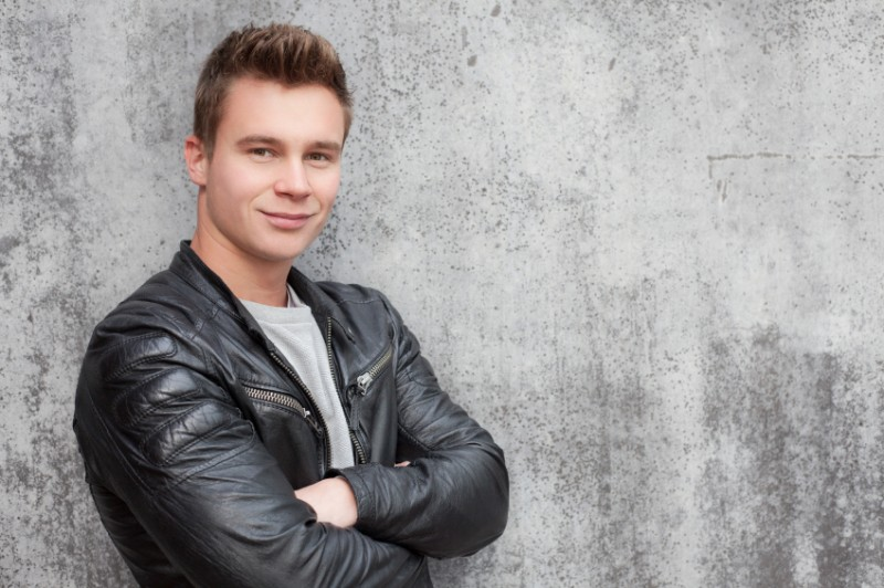 man wearing a leather jacket