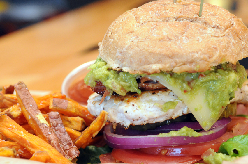 chicken sandwich with bacon and guacamole