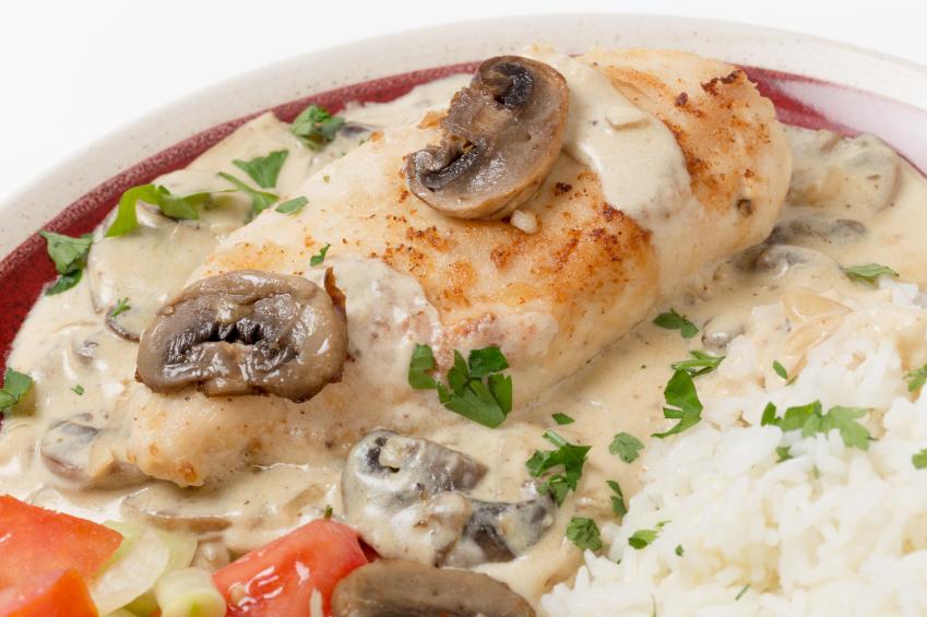 Chicken stroganoff with rice, mushrooms