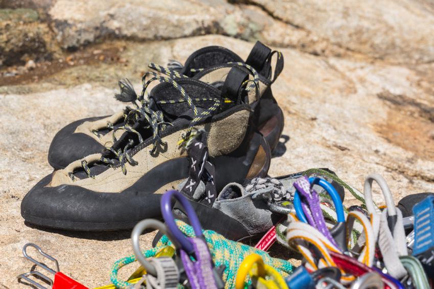 rock climbing shoes, rope