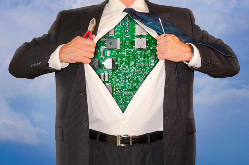 man with computer board on chest
