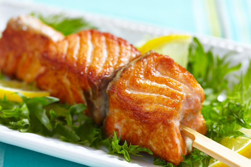 salmon skewers