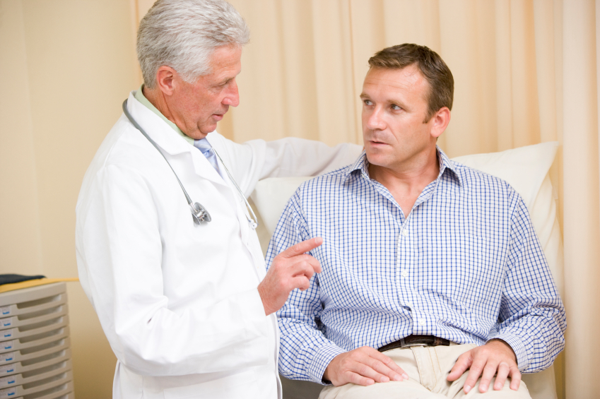 Man talking to his doctor