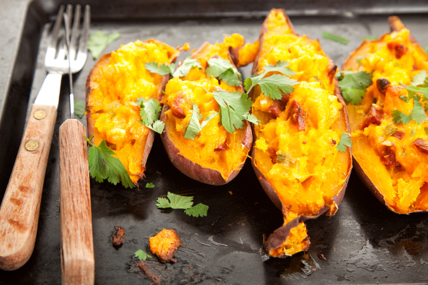 Baked sweet potatoes with cheese
