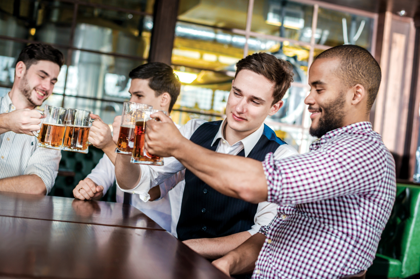 Male friends drinking beer