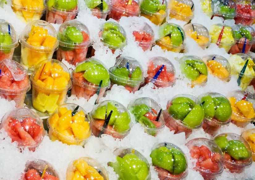 pre-cut fruit, packaged