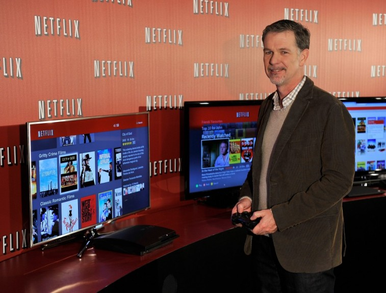 LONDON, ENGLAND - JANUARY 09: Reed Hastings Co-Founder and CEO Netflix poses during the Netflix UK launch in London, England on January 9, 2012. Netflix the leading global internet subscription service for films and TV programmes, launches today in the United Kingdom and Ireland, offering instant and unlimited access to a broad range of entertainment for the low monthly price of £5.99 in the UK and €6.99 in Ireland. (Photo by Gareth Cattermole/Getty Images for Netflix)