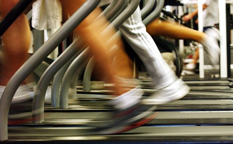 running on treadmill at gym