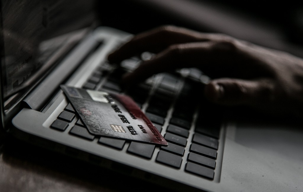 person with a credit card using a laptop
