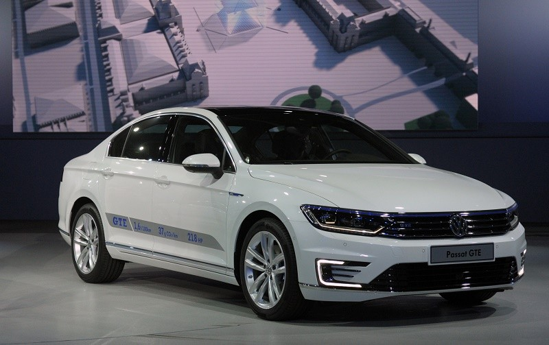 A Passat GTE is presented at the Volkswagen Group Night show on October 1, 2014 in Paris prior to the opening on October 2 of the Paris Auto show 2014 Press days. AFP PHOTO ERIC PIERMONT (Photo credit should read ERIC PIERMONT/AFP/Getty Images)