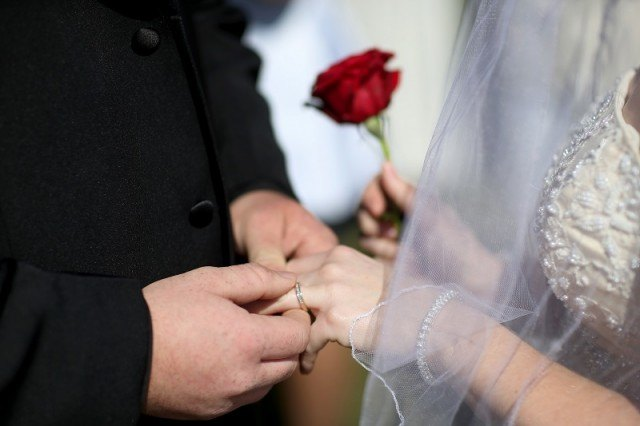 Man and woman getting married