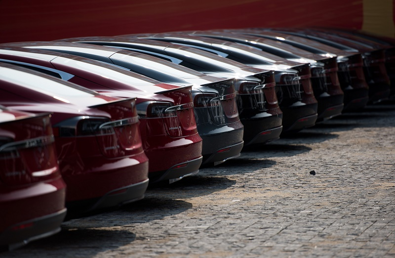 line of Tesla Model S vehicles