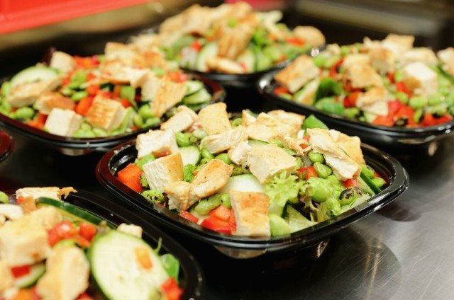 Fast food salads ready to be served