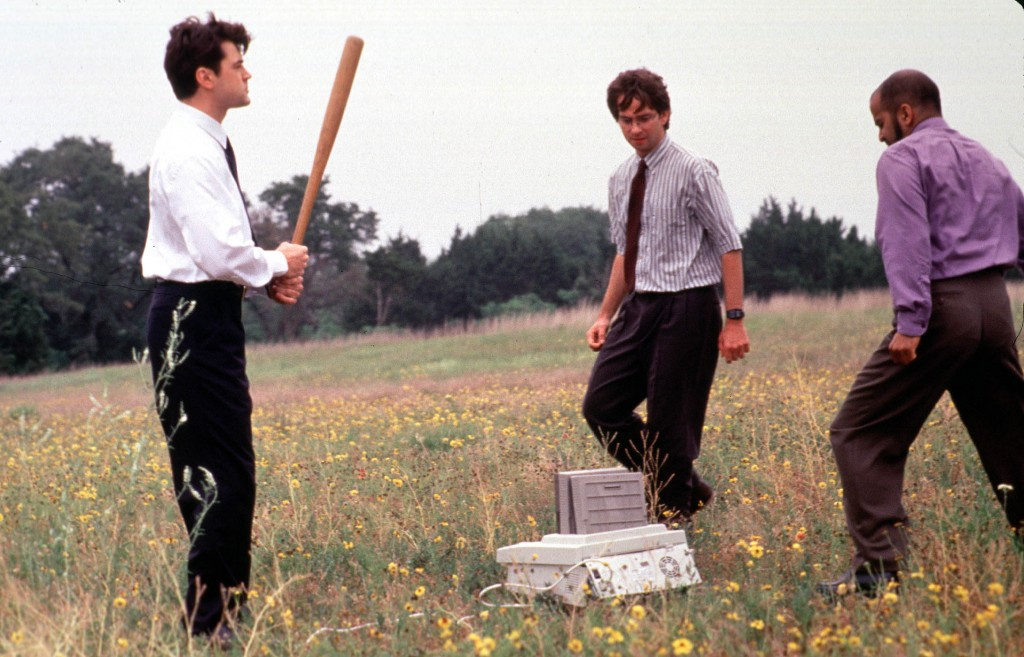Office workers murder a printer in 'Office Space'