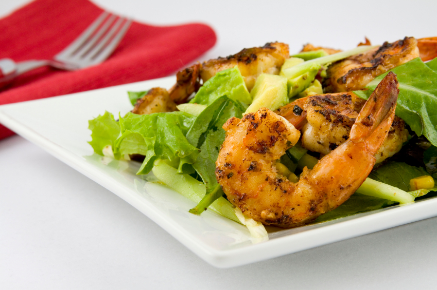 salad, grilled shrimp, avocado