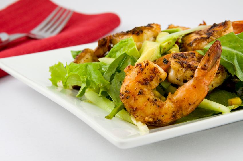 salad, grilled shrimp, avocado