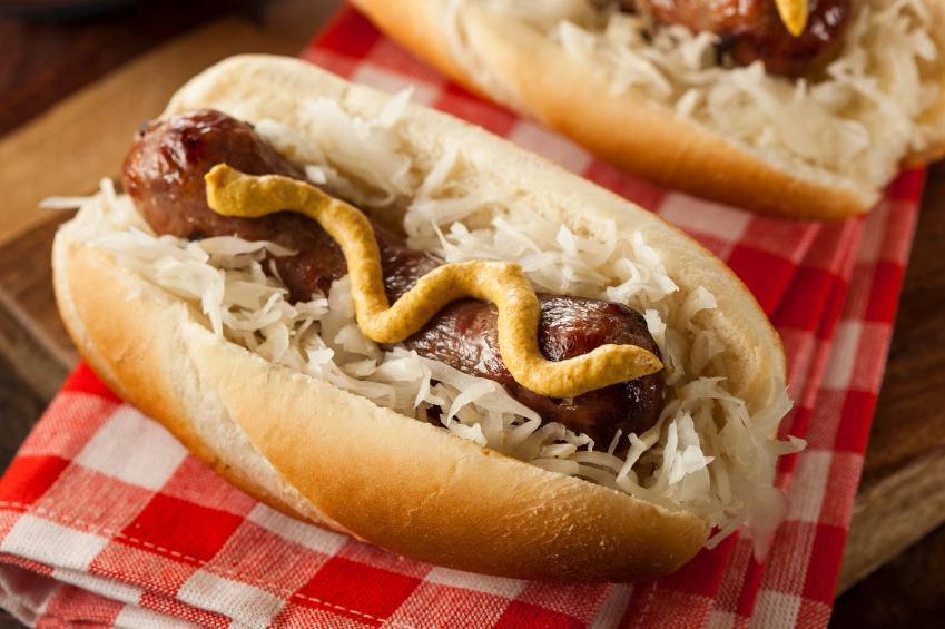bratwurst, sauerkraut, sausage